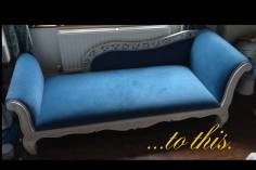 Chaise reupholstered and painted
